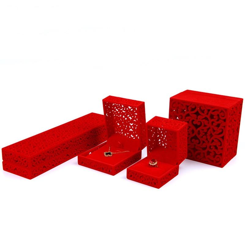 High-grade Velvet Box 7x7x5.1cm 6pcs Red Wedding Ring Box Jewelry Display Gift Case Jewelry Necklace Velvet Box For Bracelets