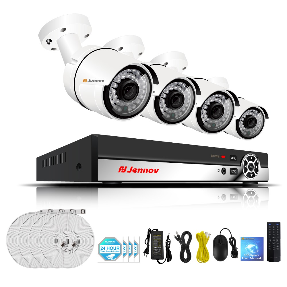 1080P 4CH Video Surveillance POE System CCTV Camera System 48V Metal Outdoor Home Security IP Camera 2MP White Set HDMI Kit NVR