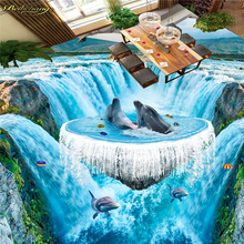 цена на beibehang Custom Photo Wallpaper Floor Painting 3D Waterfall Ocean Bathroom Walkway 3D Floor papel de parede