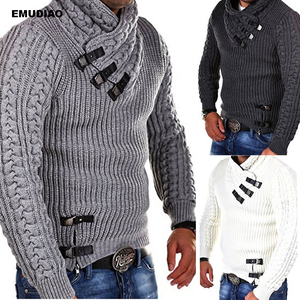 Turtle Neck Sweater Men Long Sleeve Knitted Pullovers 2019 A