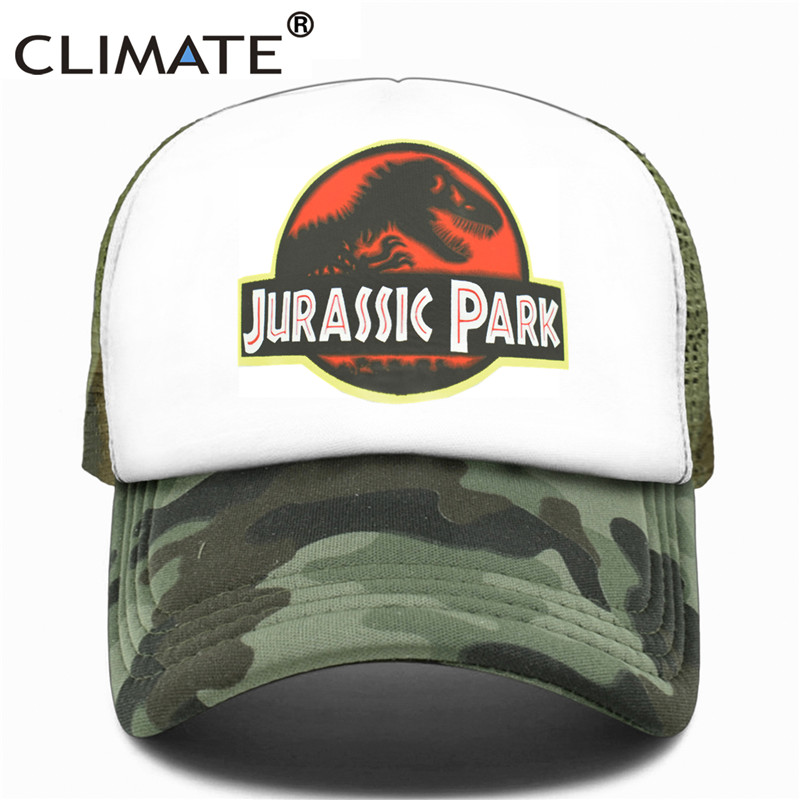 CLIMATE Jurassic Park Trucker   Caps   Men Women Dinosaur   Cap   Jurassic World Summer Adjustable Cool   Cap   Mesh   Baseball     Caps   Hats