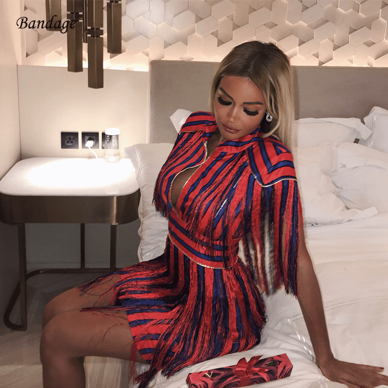 2018 Fashion Sexy Women Dress Red Blue Striped Shoulder Tassel Dress Short Vestidos Mini Christmas Prom Party Dress With Fringe