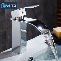 EVERSO Unique Brass Deck Mount Waterfall Bathroom Faucet Vanity Vessel Sinks Mixer Tap Cold And Hot
