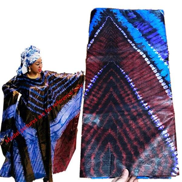 India bazin brode getzner 2019 nouveau cotone bazin riche getzner royal blu tessuto del merletto nigeriano per la cerimonia nuziale 5 + 2 yard/lot