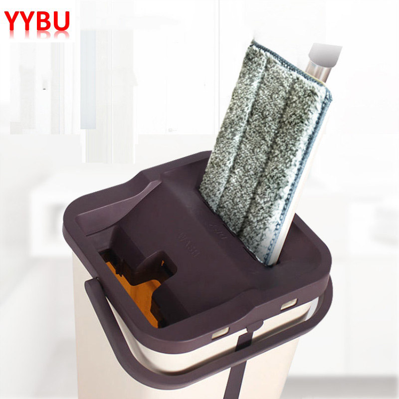 YYBU Drop Shipping Magic Cleaner Flat Mop for Cleaning Floors Squeeze Free Hand Washing Cleaning Lazy Mop Bucket with Wringer Mops     - title=