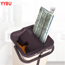 YYBU Drop Shipping Magic Cleaner Flat Mop for Cleaning Floors Squeeze Free Hand Washing Lazy Bucket with Wringer