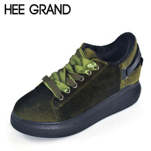 HEE GRAND Velvet Creepers 2017 Platform Loafers Casual Shoes Woman Lace-Up Flats Fashion Suede Warm Women Shoes XWD4872