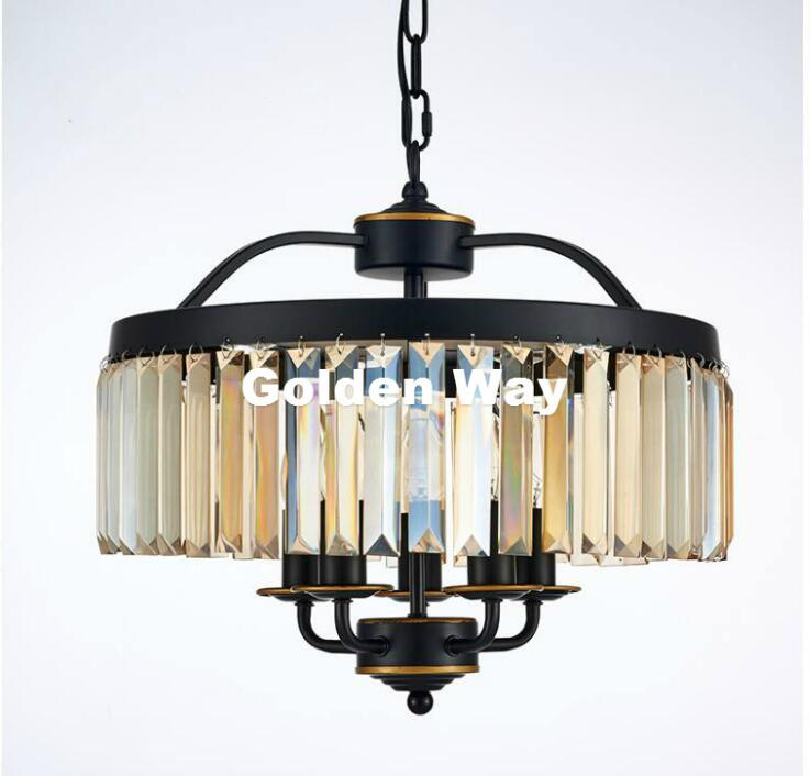 Black Crystal Nordic Pendant Lamp Personality Vintage Restaurant Bar Cafe Hanging Lamp Creative Living Room Iron Pendant Light loft style vintage pendant lamp iron industrial retro pendant lamps restaurant bar counter hanging chandeliers cafe room