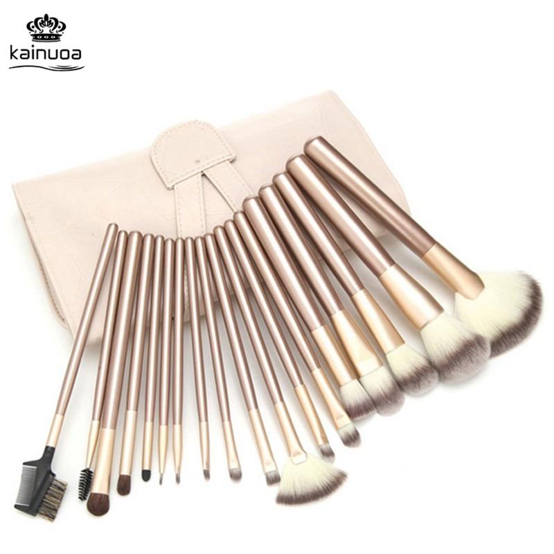 12/18/24pcs Makeup Brushes Sets Gold Eyebrow Foundation Powder Eyeliner Lip Eyeshadow Brush Pincel Maquiagem With Leather Bag