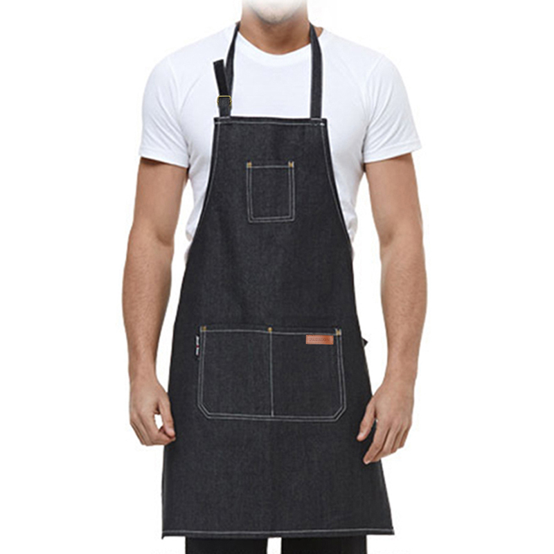 Household Cleaning Protections Household Cleaning Sleeveless Chef Apron Women Man Restaurant Denim Apron For Woman Man Kitchen Cooking Pinafore Restaurant Coffee Shop Apron Quality First
