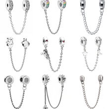 Vintage Punk Alloy Flowers Hearts Stars Moon Mickey Mouse Safety Chain Beads Charms Fit Pandora Bracelets for Women DIY Bijoux(China)