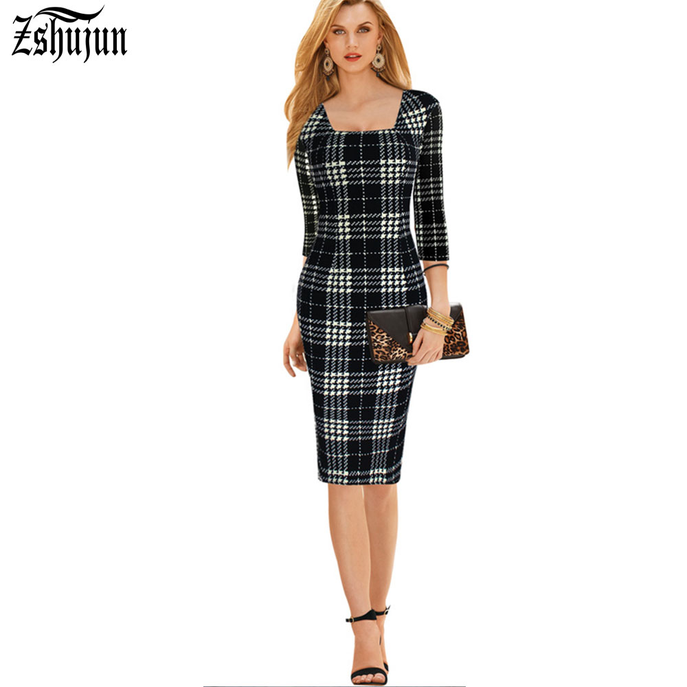 Free Shipping Vintage Sheath Black White Plaid Color Full Sleeve Hip Package Dress Casual Woman Square Collar Cloth SummerA1122