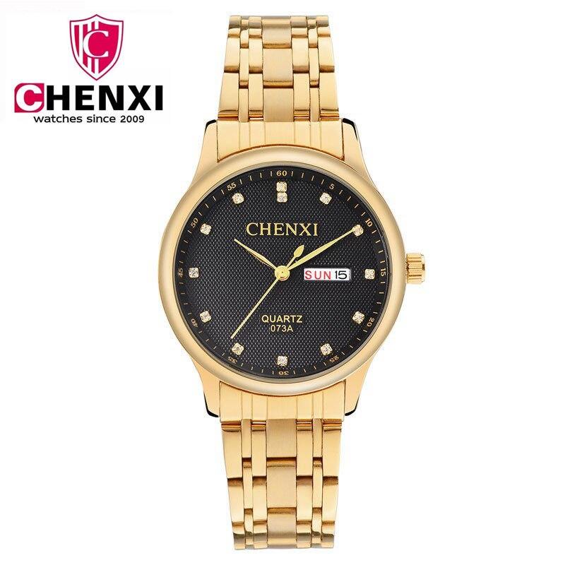 50723298d341 CHENXI золотые часы мужские часы Топ бренд класса люкс известный мужской  часы золотые кварцевые наручные часы календарь Relogio masculino pengnatate  купить ...