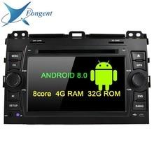 android 9.0 Octa Core 4GB RAM Car DVD multimedia player GPS Glonass map Radio Wifi for Toyota Prado Land Cruiser 120 2003-2010 цены онлайн