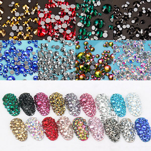 1bag(over 400pcs) hotfix iron flatback strass nail art crystal mix sizes glass rhinestone nail decoration high shinning charms
