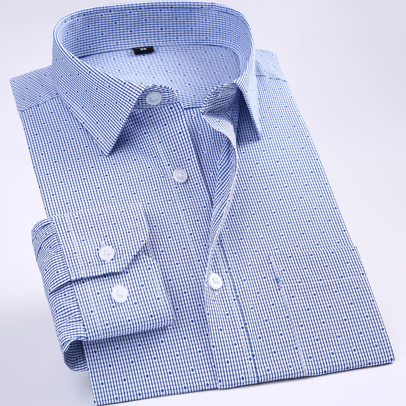 New Non-iron Regular Fit Men  Long Sleeve Business Men Shirts Easy Care Striped/plaid Dot Floral Tops For Male