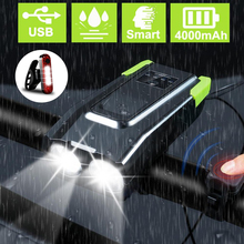 4000mAh Induction Bicycle Front Light Set USB Rechargeable 15000 Lumens Smart Headlight With Horn LED Bike Lamp Cycle bike