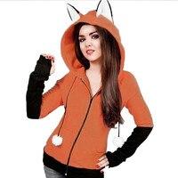 Fox Ears Kapturem Bluzy Kobiety Z Długim Rękawem Płaszcz Jesień Kapturem Kurtka Veste Femme Manche Longue
