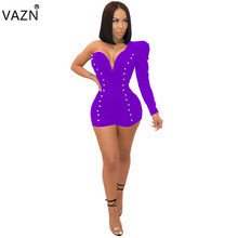 VAZN Sexy Best Quality 2018 Beach Style Women Bodysuits Solid Full Sleeve One Off Shoulder Skinny