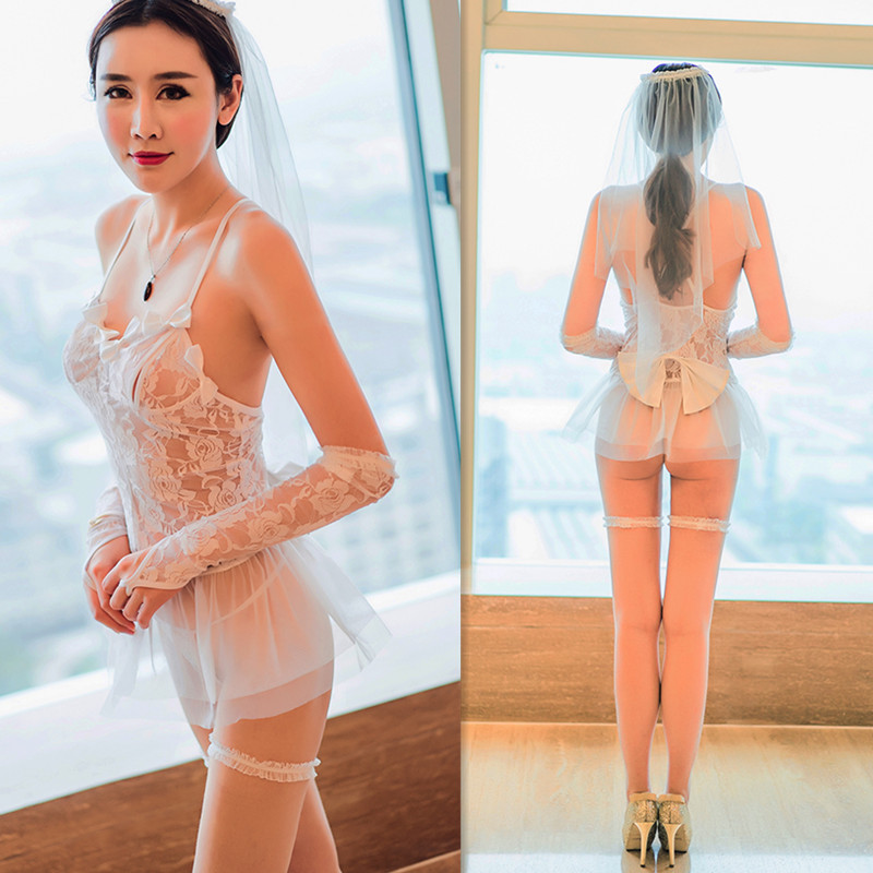 Buy New Porn Women Bride Lingerie Sexy Hot Erotic Lace Wedding Lingerie White See Costumes Role Play Elastic Tight Underwear