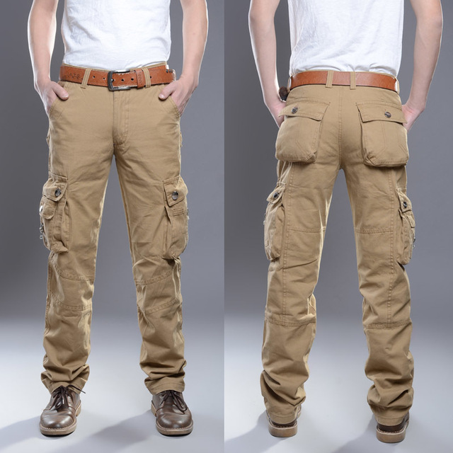 2016 New Casual Men Tactical Cargo Pants Slim multi-pockets Men Pants Three colors available Fashion Cargo Pants Hot Sale