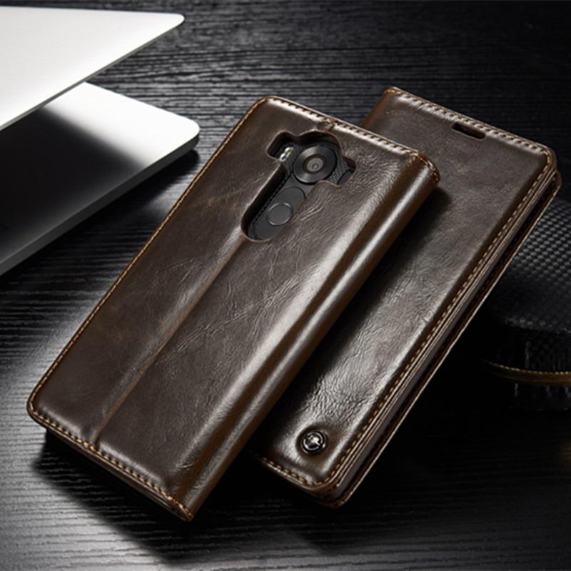 CaseMe Luxury Leather Wallet Stand Holder Case for LG V10 V20 Magnet Flip Leather Holder Cover Vintage Case For LG G4 G5 G6 Capa