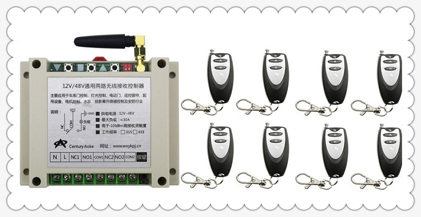 New DC12V 24V 36V 48V 10A 2CH Remote Control Garage Door RF Wireless Remote Control Switch System 8 X Transmitter + 1 X Receiver new arrivals dc 12v 24v 36v 48v 30 a 1 channel rf wireless remote control 2pcs receiver