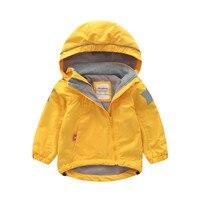 Meanbear Europe Oblique Zipper Kids Jacket Fleece Lining Girls Jackets Stars Hooded Boys Coat Spring Trench Child Windbreaker