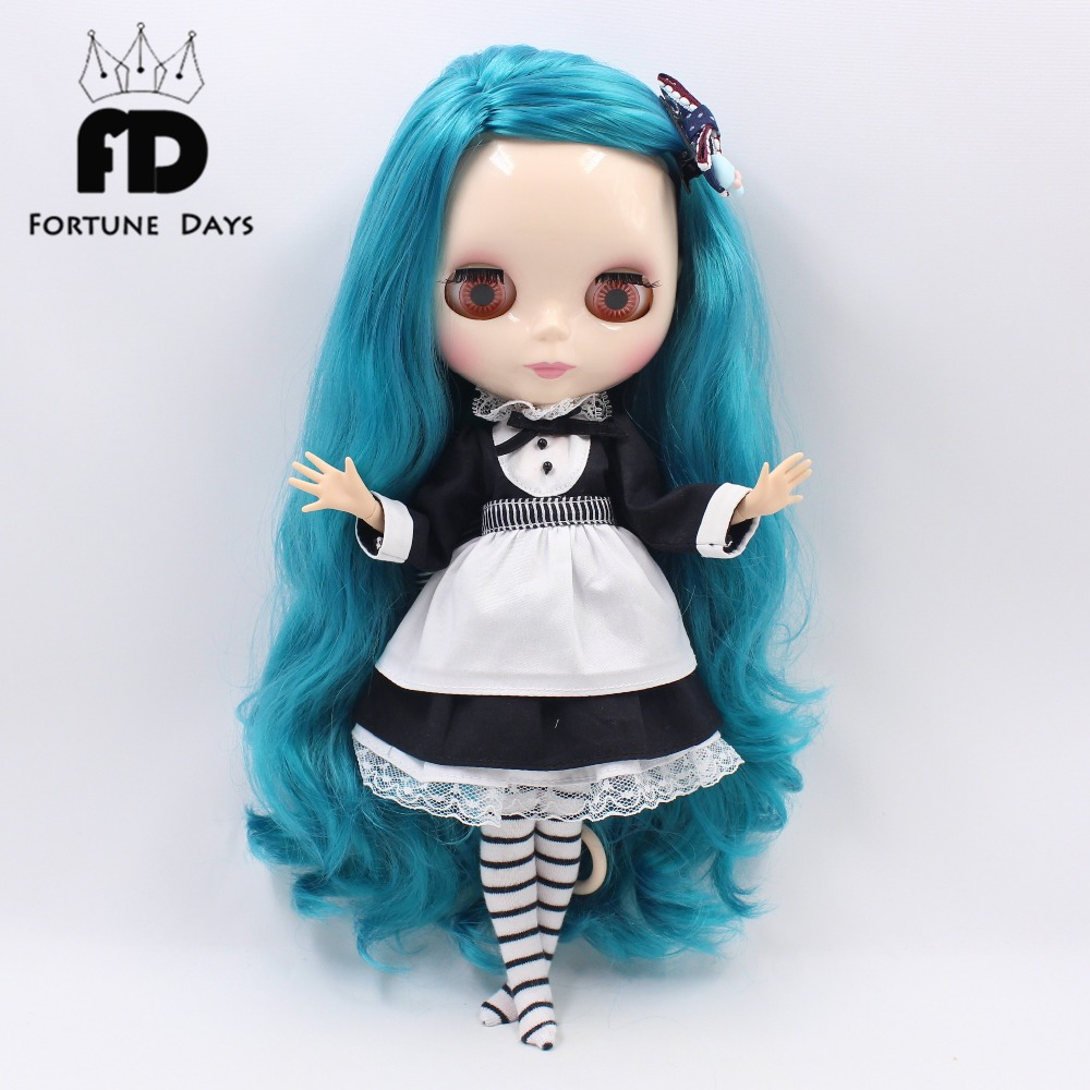 Free shipping for blyth doll icy licca waitress suit black dress with leggings apron 1/6 30cm lolita clothes цена и фото
