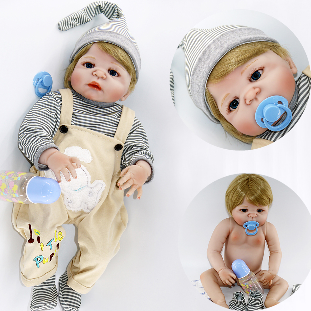 "22"" reborn babies full silicone vinyl body blond hair boy girl realistic doll reborn can enter water kids bath toy dolls boneca-in Dolls from Toys & Hobbies    1"