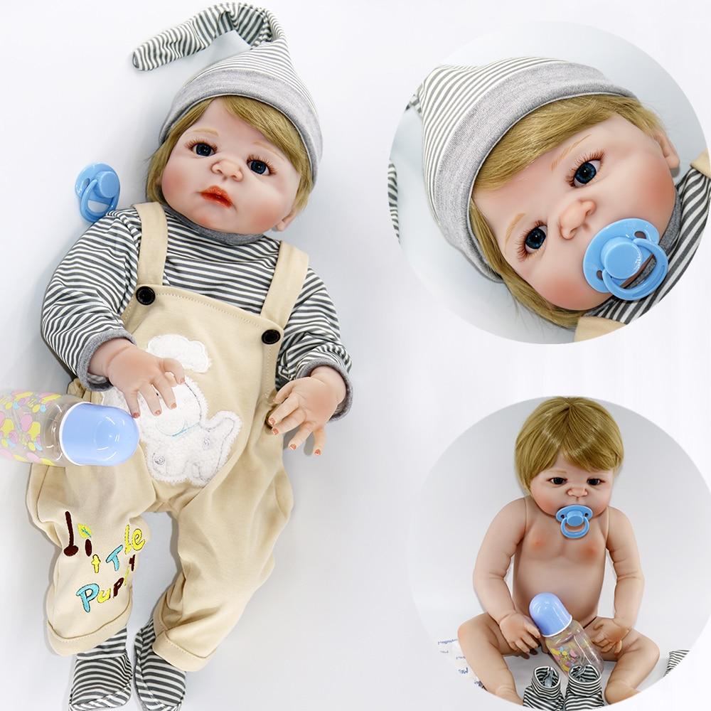 """22 """"태어난 아기 전체 실리콘 비닐 바디 금발 머리 소년 소녀 현실적인 인형 다시 태어난 물 아이 목욕 장난감 인형 boneca 입력 할 수 있습니다-에서인형부터 완구 & 취미 의  그룹 1"""