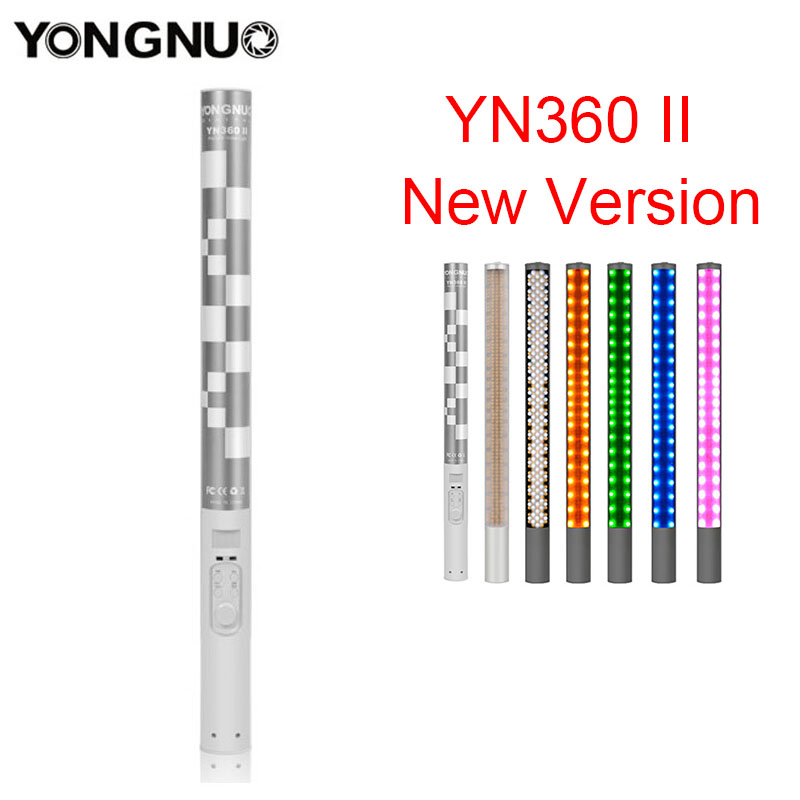 Yongnuo YN360 YN360 II Handheld LED Studio Photography Video Light Ice Stick 3200k-5500k RGB Colorful Controlled by Phone App yongnuo yn360ii yn360 ii led video light handheld ice stick photo lamp bicolor 3200k 5500k with rgb controlled by phone app