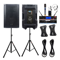 STARAUDIO Dual 15 Powered DSP 4500W Active Audio PA KTV DJ Speakers Stage Stands 2CH UHF Wireless Handheld Headset Mic SDSP 15