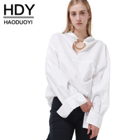 HDY Haoduoyi 2017 Fashion Shirt Women Casual Loose Full Sleeve Sequined Hollow Out Tops Brief Solid
