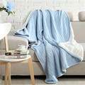 iDouillet Winter Super Warm Double Layer Cable Knit Cotton Bed Blanket with White Sherpa Throw Sofa Twin Size Bedding 150x200cm