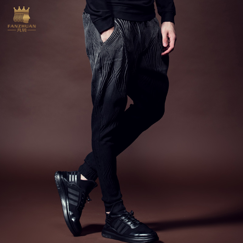 Free Shipping 2016 New Arrivals Male Fashion Winter Men's Casual Pants Sagging Shut Haren Hanging Dye 618094 Gradient Trousers