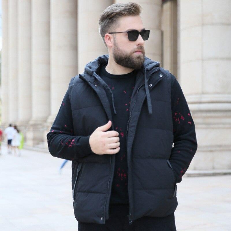 2018 hiver nouveau hommes grande taille XL 7XL 8XL 9XL 10XL décontracté chaud gilet mode lâche à capuche poche zippée noir gilet-in Débardeurs from Vêtements homme on AliExpress - 11.11_Double 11_Singles' Day 1