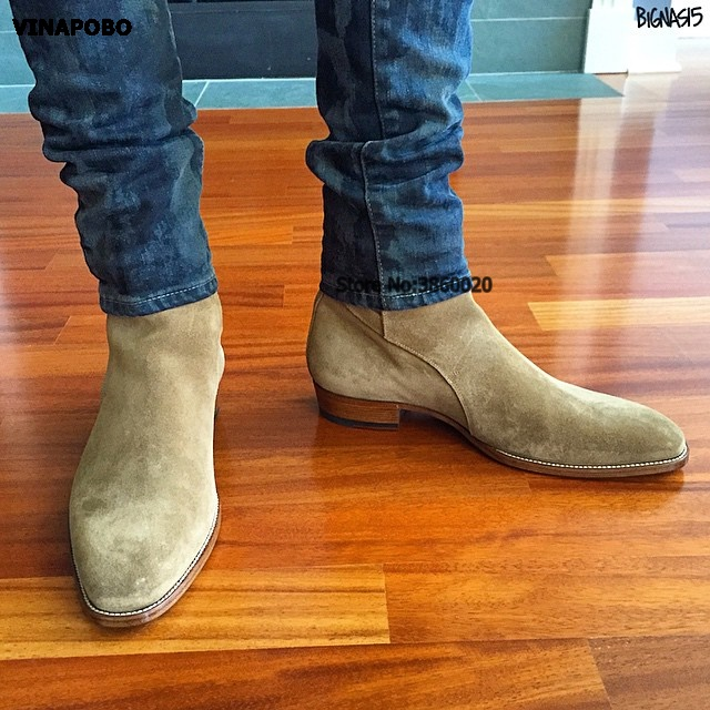 VINAPOBO 2018 suede leather men booties buckle strap Chelsea Boots slip on Ankle Boots Men's Fashion med Autumn motorcycle Boots