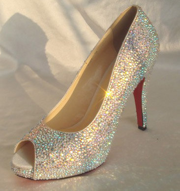 3c4e2a875 Peep Toe Wedding Shoes, Open Toe Bridal Shoes, AB rhinestone Sparkly Heels  Pump Bling Shoes, Red Bottom Heels Custom Bridal Heel-in Women's Pumps from  Shoes ...