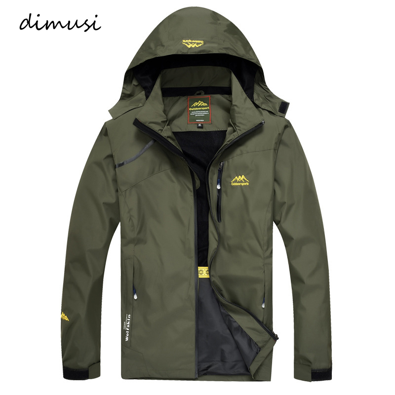 DIMUSI Men's Jackets Spring Autumn Casual Men Outwear Raincoat Waterproof Hooded Coats Male Breathable Bomber Jackets 4XL.YA813