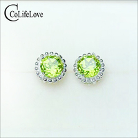 Simple round 925 silver stud earrings with gemstone natural peridot earrings for party sterling silver peridot jewelry
