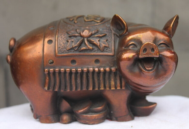 SUIRONG---504+++China Red Bronze Copper Fengshui Zodiac Money Pig Attract Wealth Animal statueSUIRONG---504+++China Red Bronze Copper Fengshui Zodiac Money Pig Attract Wealth Animal statue