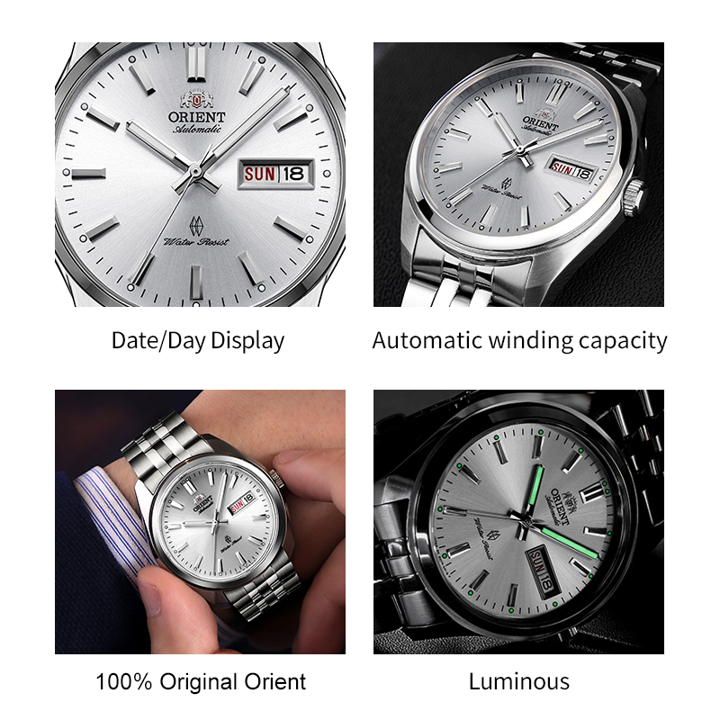 Image 2 - English Week Display Original ORIENT Watch Men's Automatic Mechanical Watches Fashion Business Luminous Stainless Steel Straps-in Mechanical Watches from Watches