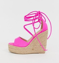 Newest 2019 Pink Suede Weave Braid Women Wedge Sandals Peep Toe High Platform Ankle Strap Cross-tied Summer Shoes Cut-out Wedges women new fashion peep toe suede leather high platform wedge sandals ankle strap straw bottom super high wedge sandals