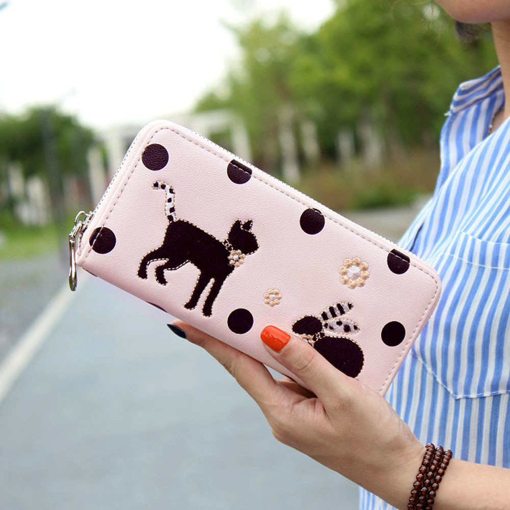 2016 New High Quality Ladies Purse Women Cute Cat Clutch Wallet Long Card Holder Purse Handbag