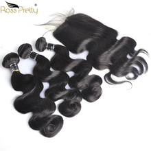 Ross Pretty Remy Peruvian Body Wave Pre Plucked Lace Closure with Bundles Natural Color Black Human Hair
