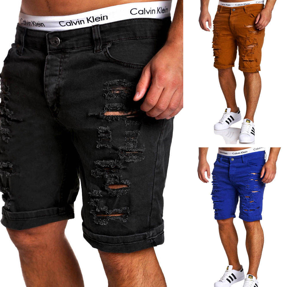 2019 New Fashion Summer Hole Patch Slim Mens Jeans Trousers Shorts