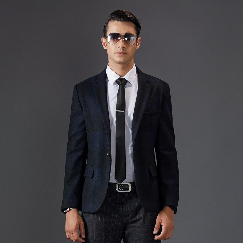 Chic Di Hlan Cinese Classico Blazer Fit Stile Slim Formale Suit Giacche  Modo Nero Nuovo Solido Colore Uomo ... 2a0fb2888e7