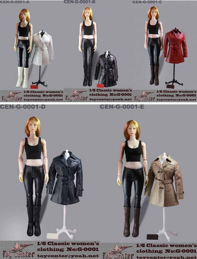 ФОТО Toy center 1/6 Sclae Toy leather suit & Shoes & Wallet G - 0001 A/B/C/D/E classic women's  Clothes Set for Thin Action Figure