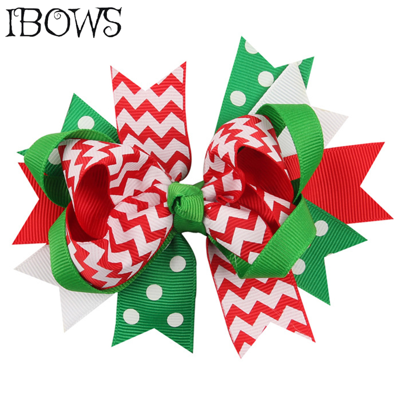 Christmas Hair Clips.Us 1 52 20 Off 5 Girls Christmas Hair Bows Print Snow Layered Green Tree Hair Clips For Kids Festival Dots Hairpins Headwear Hair Accessories In